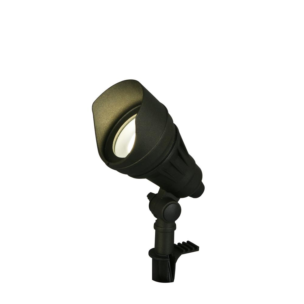 hampton bay 13.3-Watt Millennium Black Adjustable Light Color Outdoor Integrated LED Landscape Flood Light