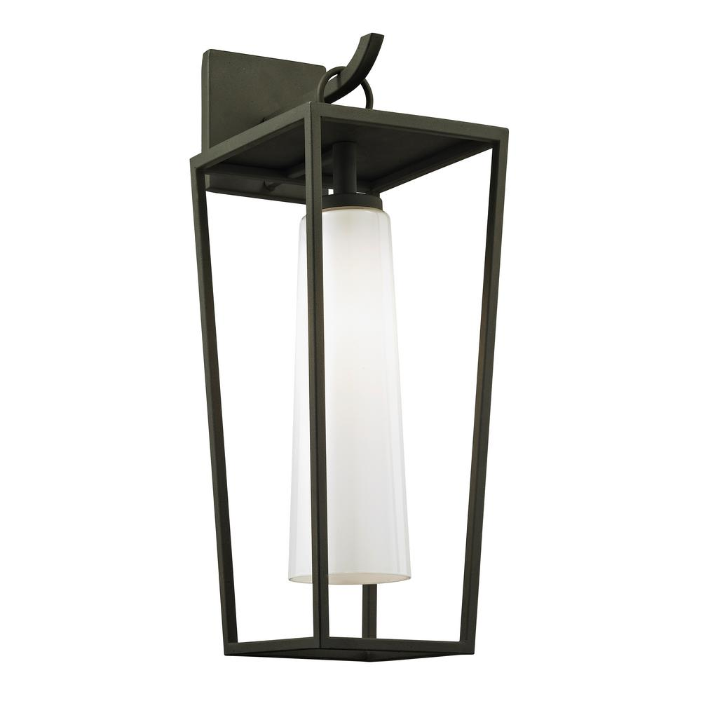 Mission Beach 1-Light Textured Black 19.5 in. H Outdoor Wall Mount
