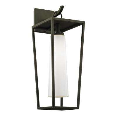 Mission Beach 1-Light Textured Black 19.5 in. H Outdoor Wall Mount Sconce with Opal White Glass