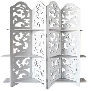 Benzara Hand Carved Four Panel 5 Ft 9 In White Wooden Room