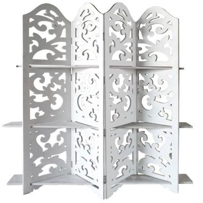 Hand Carved Four Panel 5 ft. 9 in. White Wooden Room Divider with Shelving Unit