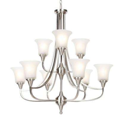9-Light Brushed Nickel 2-Tier Chandelier with Frosted Glass Shade
