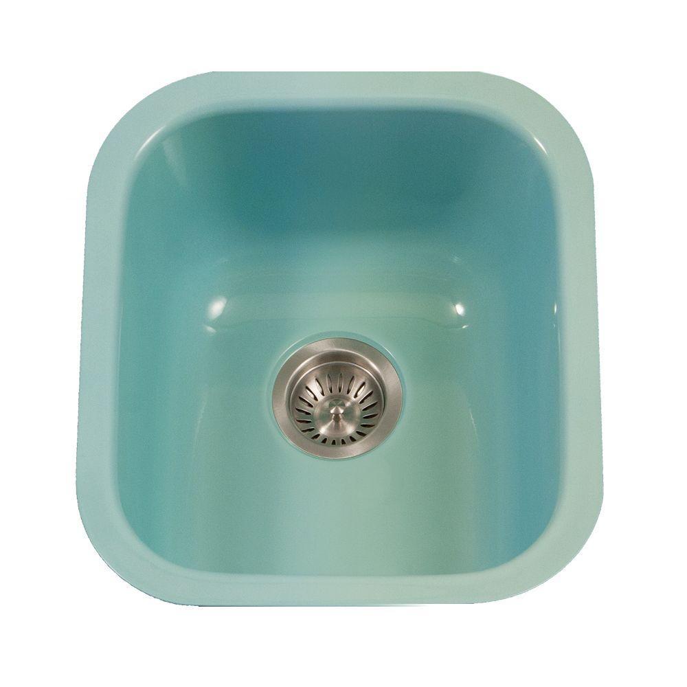 HOUZER Porcela Series Undermount Porcelain Enamel Steel 16 in ...
