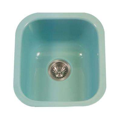 Porcela Series Undermount Porcelain Enamel Steel 16 in. Single Bowl Kitchen Sink in Mint