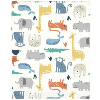 Orange Colorful Modern Safari Animals Super Soft Fitted Polyester Crib Sheet