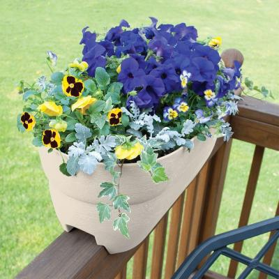 Bloomers Series 24 in. W x 12 in. H White Resin Deck and Porch Rail Planter
