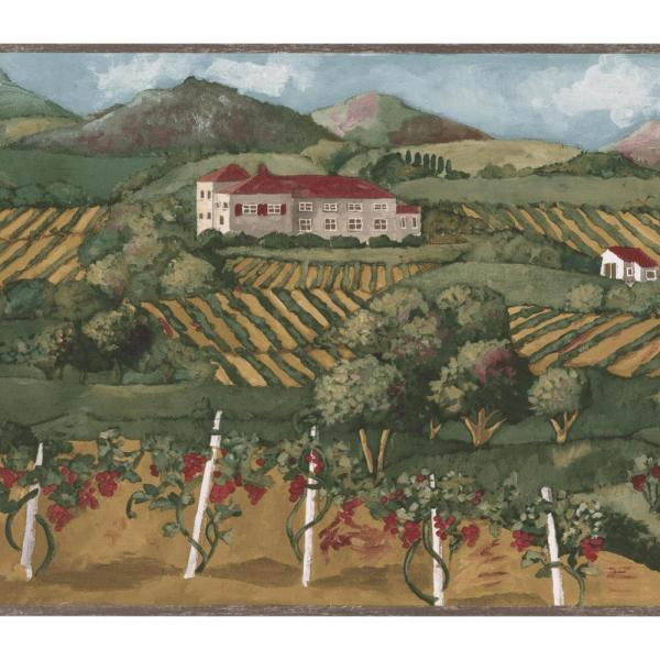 Norwall Countryside Ploughed Land House Hills Sage Green Prepasted Wallpaper