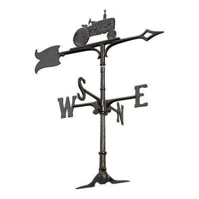 30 in. Black Tractor Accent Weathervane