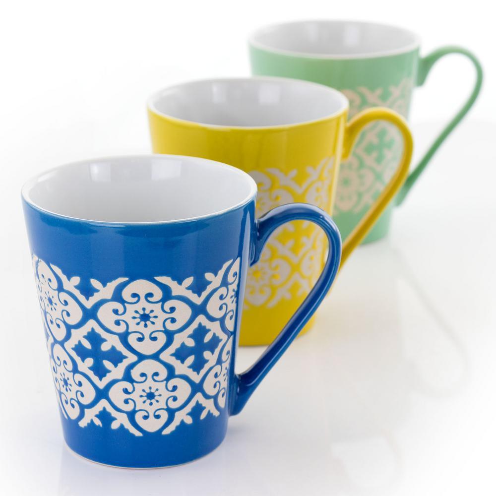 12.5 oz. Assorted Stoneware Mugs (Set of 4)