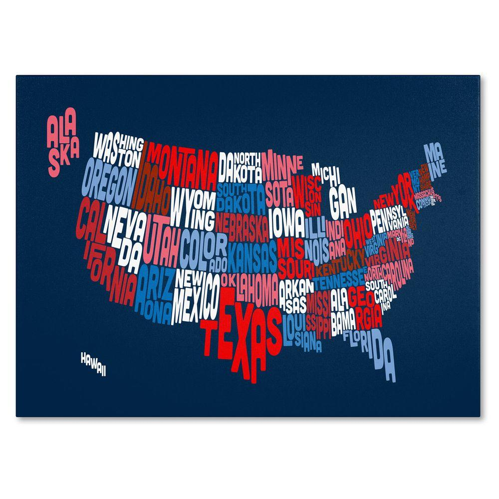 Trademark Fine Art 22 In X 32 USA States Text Map 2