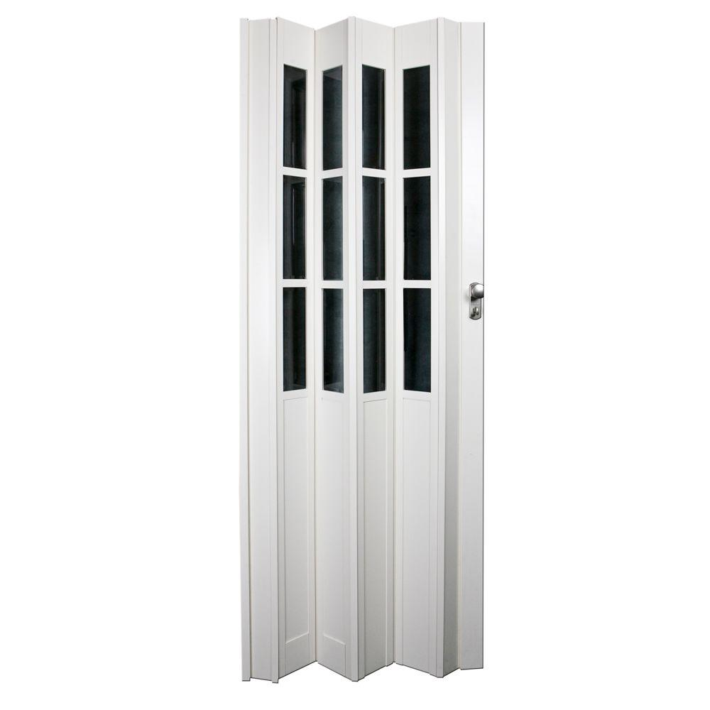 32 in. x 80 in. Devonshire Vinyl White Accordion Door
