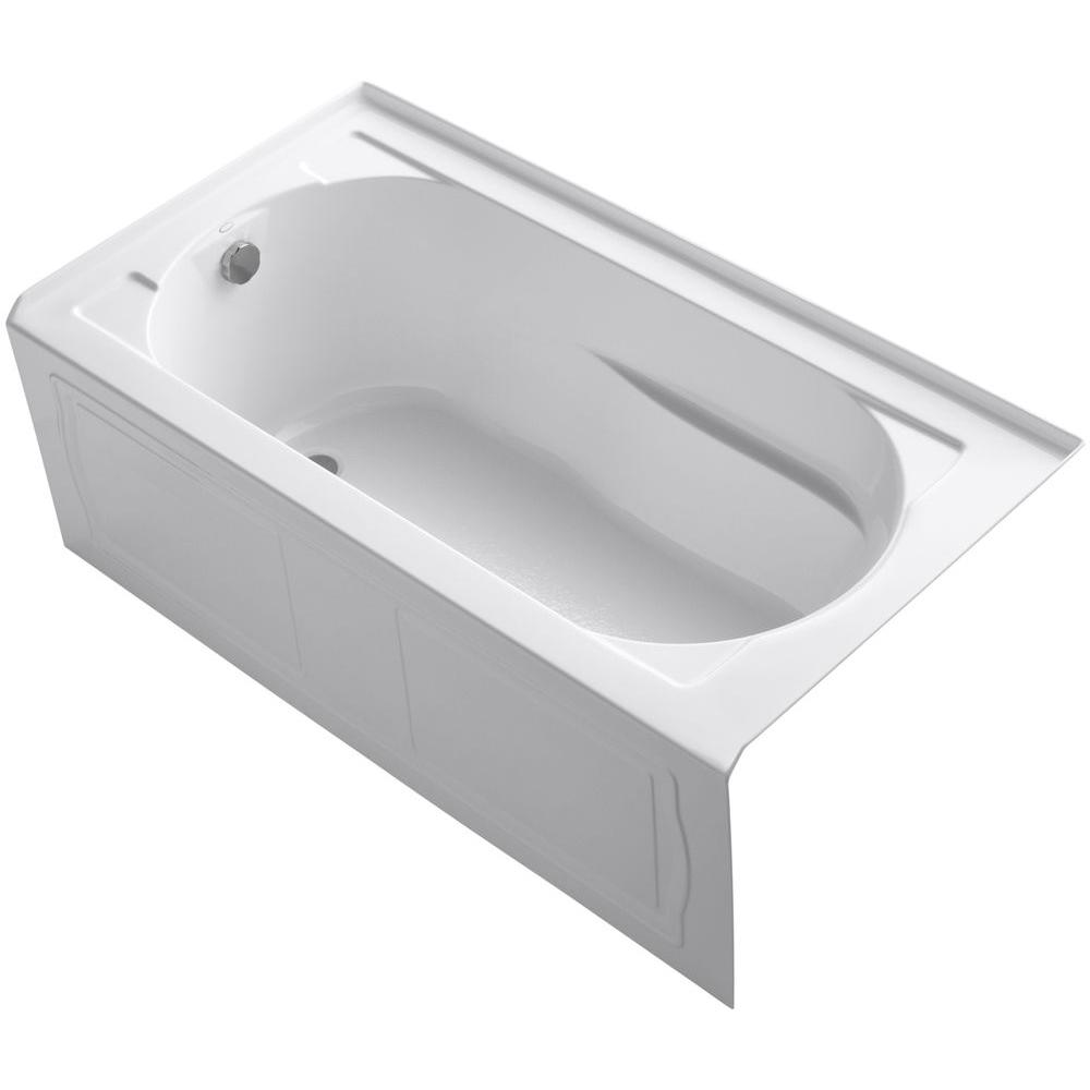 Acrylic Left Hand Drain Rectangular Alcove Soaking Tub In White