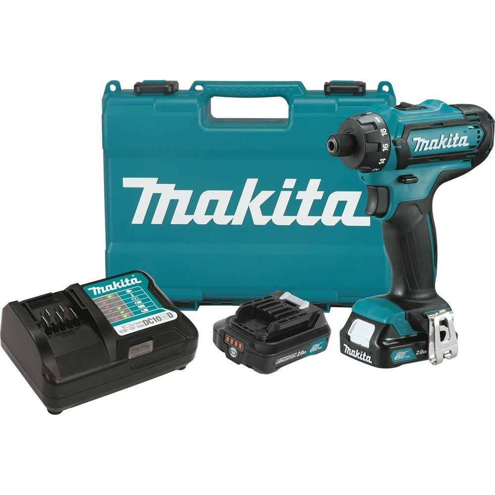 Makita 12-Volt Max CXT Lithium-Ion 1/4 in  Hex Cordless Driver-Drill Kit  with (2) Batteries (2 0 Ah), Charger and Hard Case