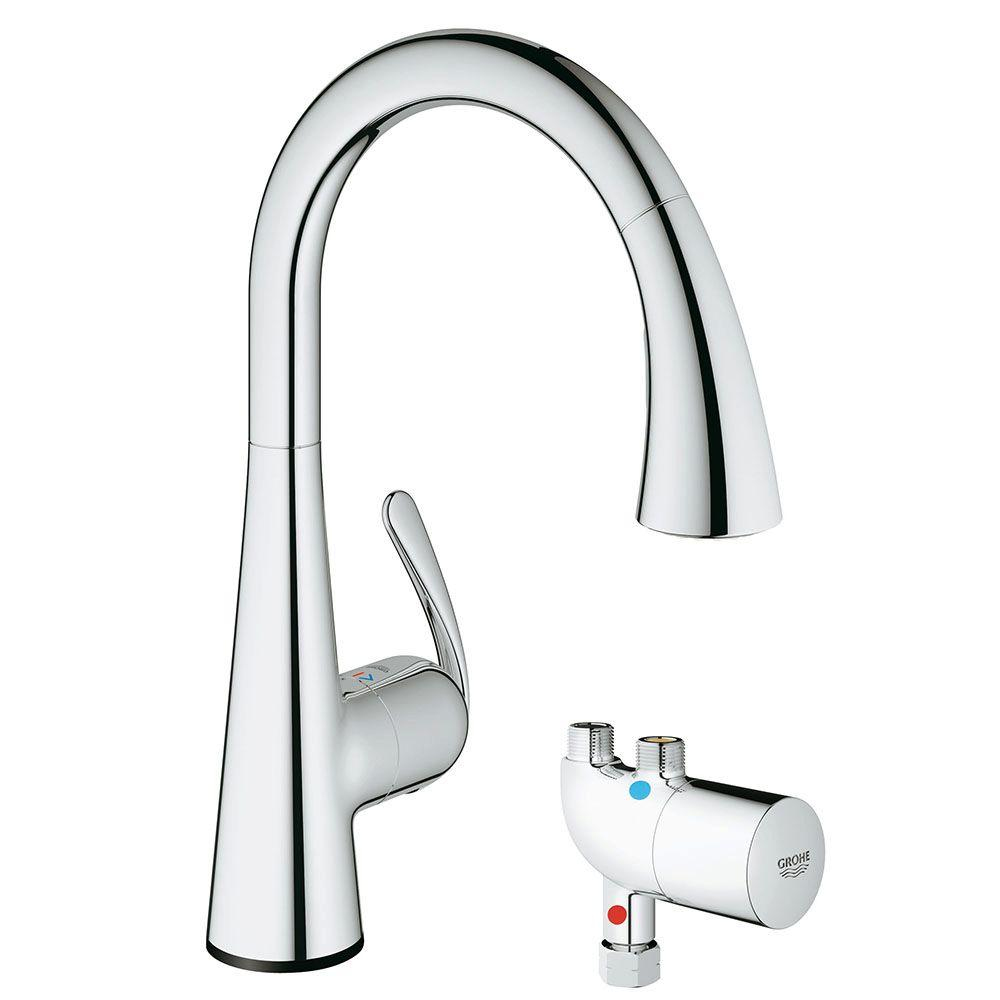 grohe ladylux cafe touch pulldown sprayer kitchen faucet with grohtherm micro