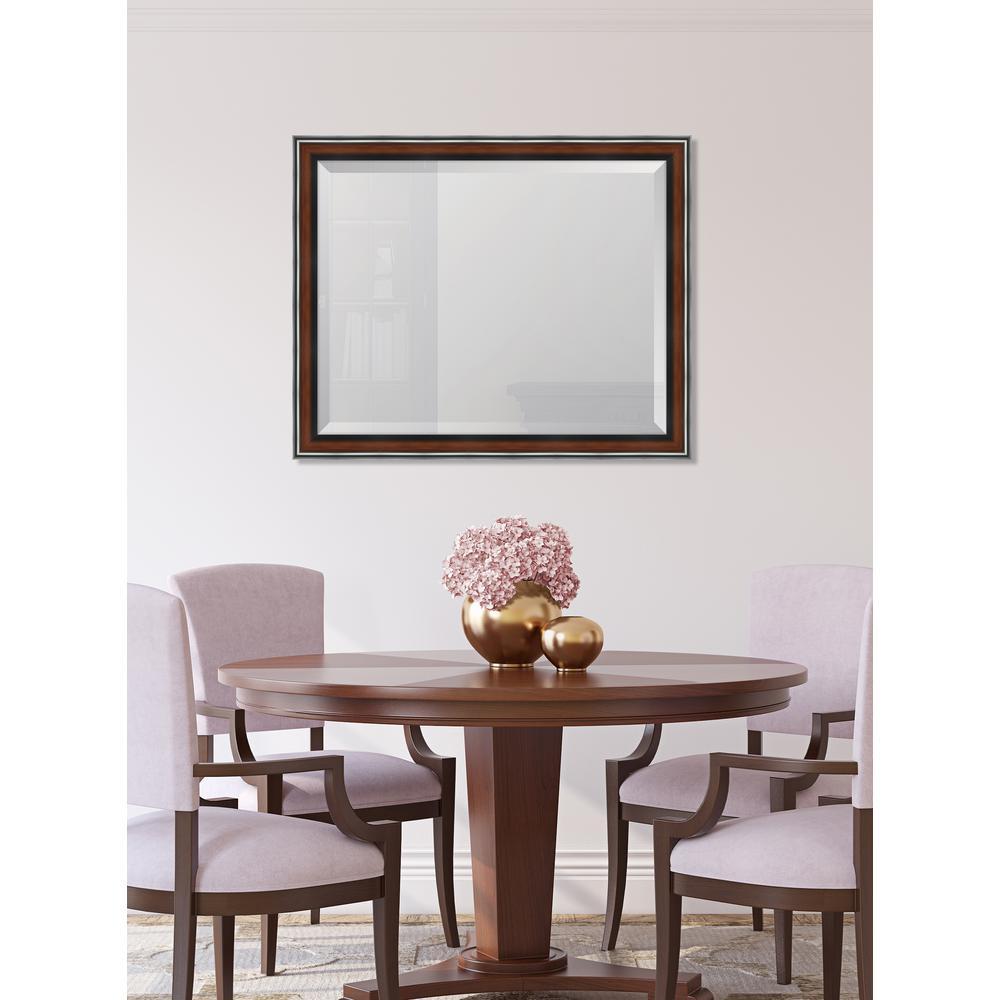 Medium Rectangle Walnut Beveled Glass Classic Mirror (32 in. H x 26 in. W)