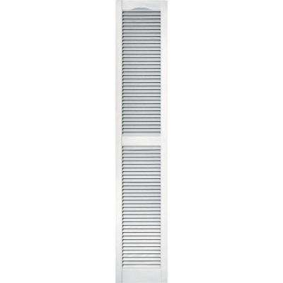 15 in. x 80 in. Louvered Vinyl Exterior Shutters Pair #001 White
