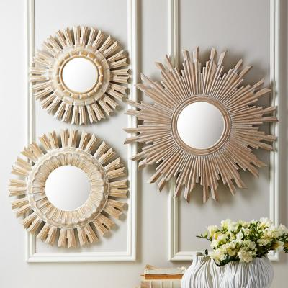 Mirrors Home Garden Gold Small Sunburst Mirror 6 Handcarved Wood Round Mirror For Wall Decor Set 3 Adrp Fournitures Fr