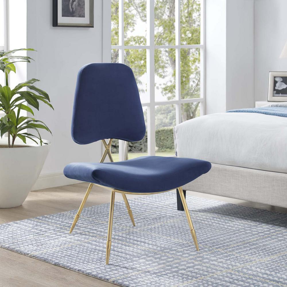 Ponder Upholstered Velvet Lounge Chair in Navy