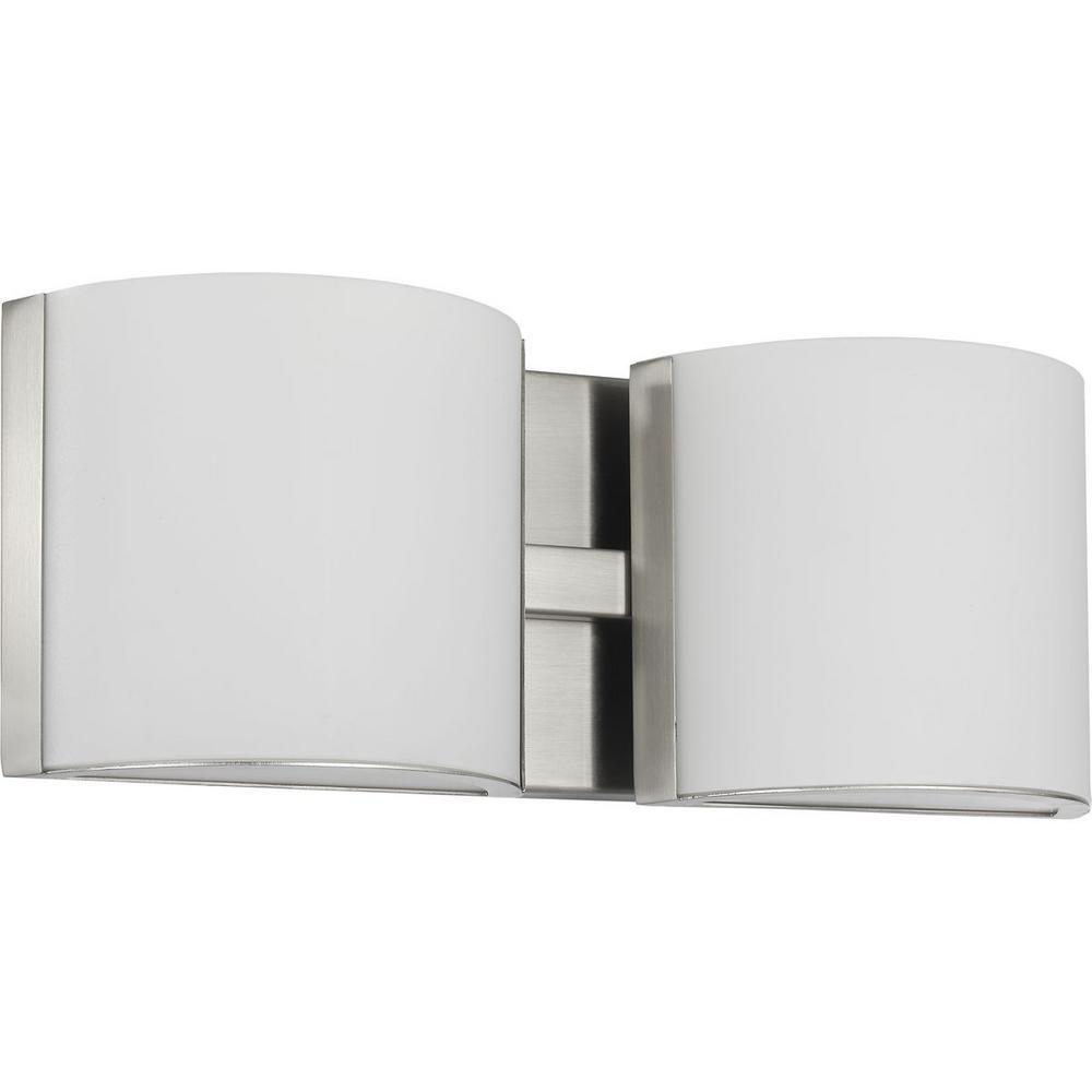 Progress Lighting Arch LED 13 in. Brushed Nickel 2-Light LED Bath Flush Mount