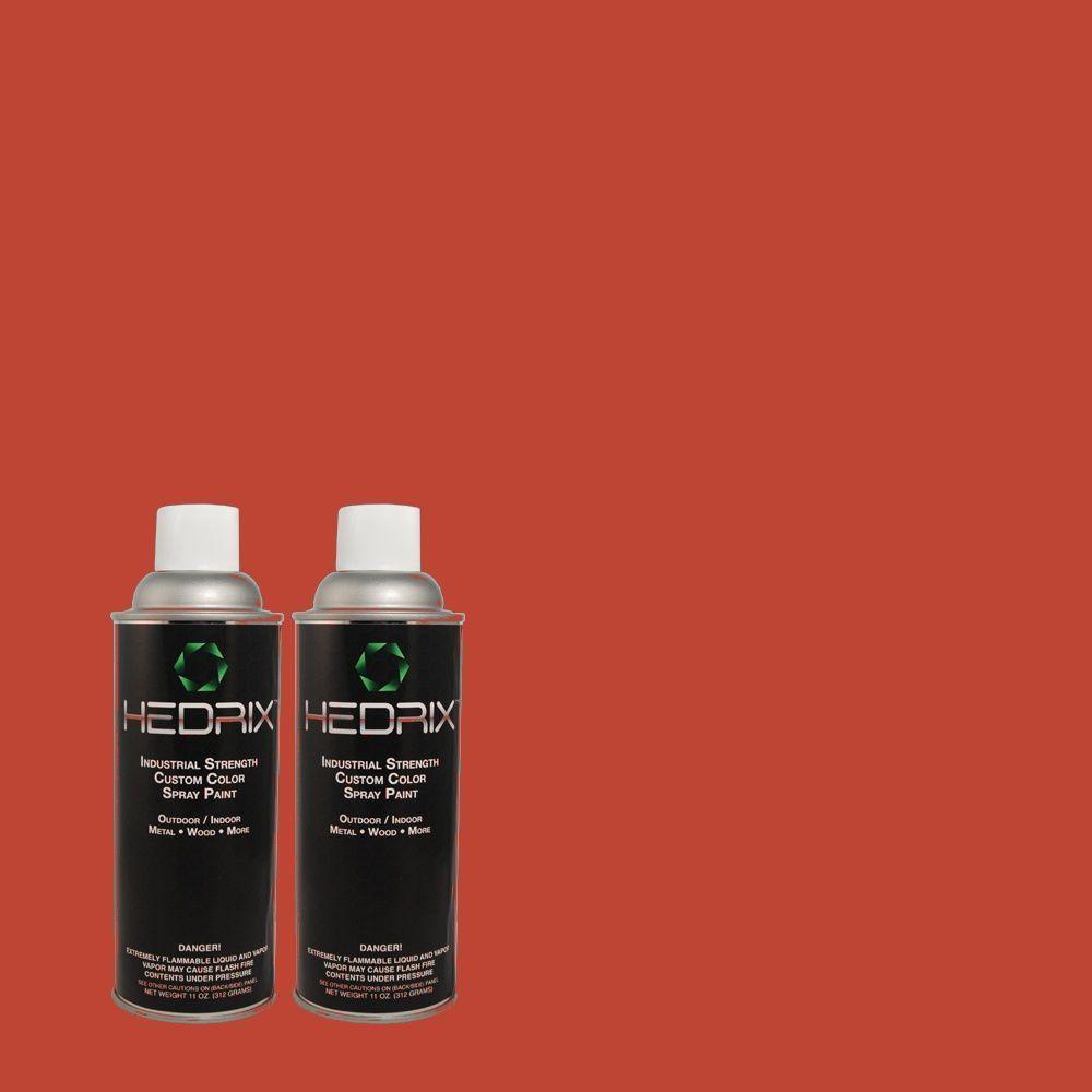 Hedrix 11 oz. Match of 170B-7 Red Tomato Semi-Gloss Custom Spray Paint (2-Pack)