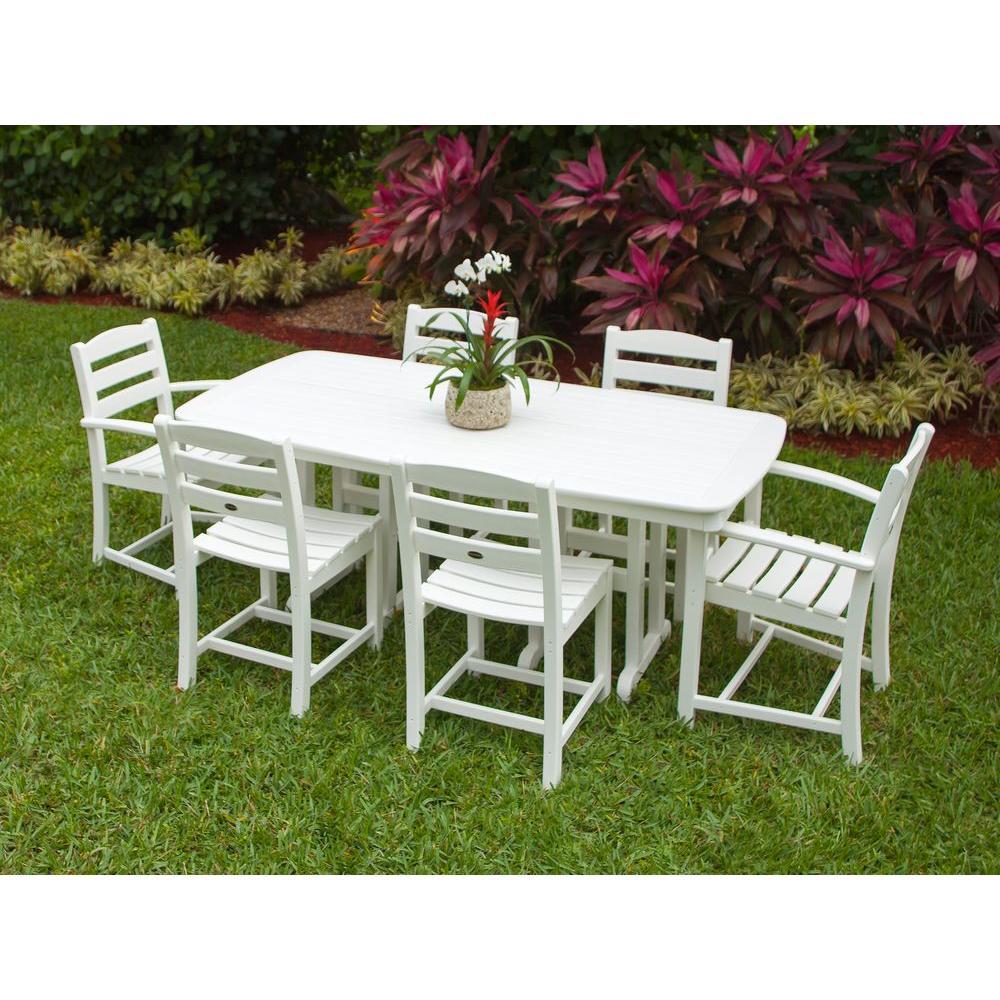 La Casa Cafe White 7-Piece Plastic Outdoor Patio Dining Set