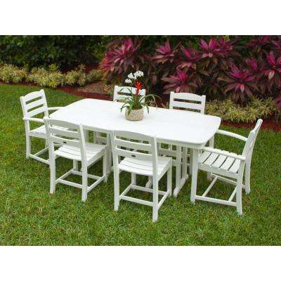 La Casa Cafe White 7-Piece Plastic Outdoor Patio Dining Set