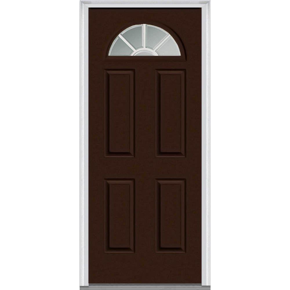 30 in. x 80 in. Grilles Between Glass Left-Hand Inswing 1/4-Lite Clear 4-Panel Classic Painted Steel Prehung Front Door