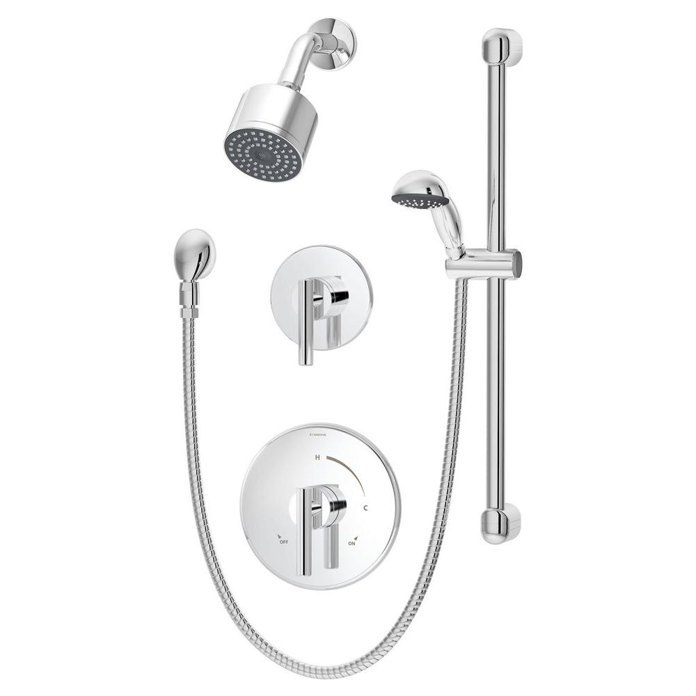 Symmons Dia 1-Spray Hand Shower and Shower Head Combo Kit in Chrome