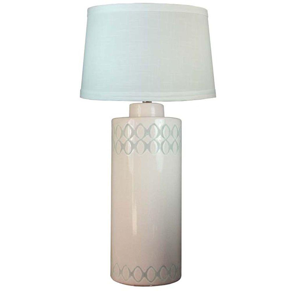 Fangio Lighting 28 in. Peppermint Crackle Ceramic Table Lamp with Circles in Black Stain