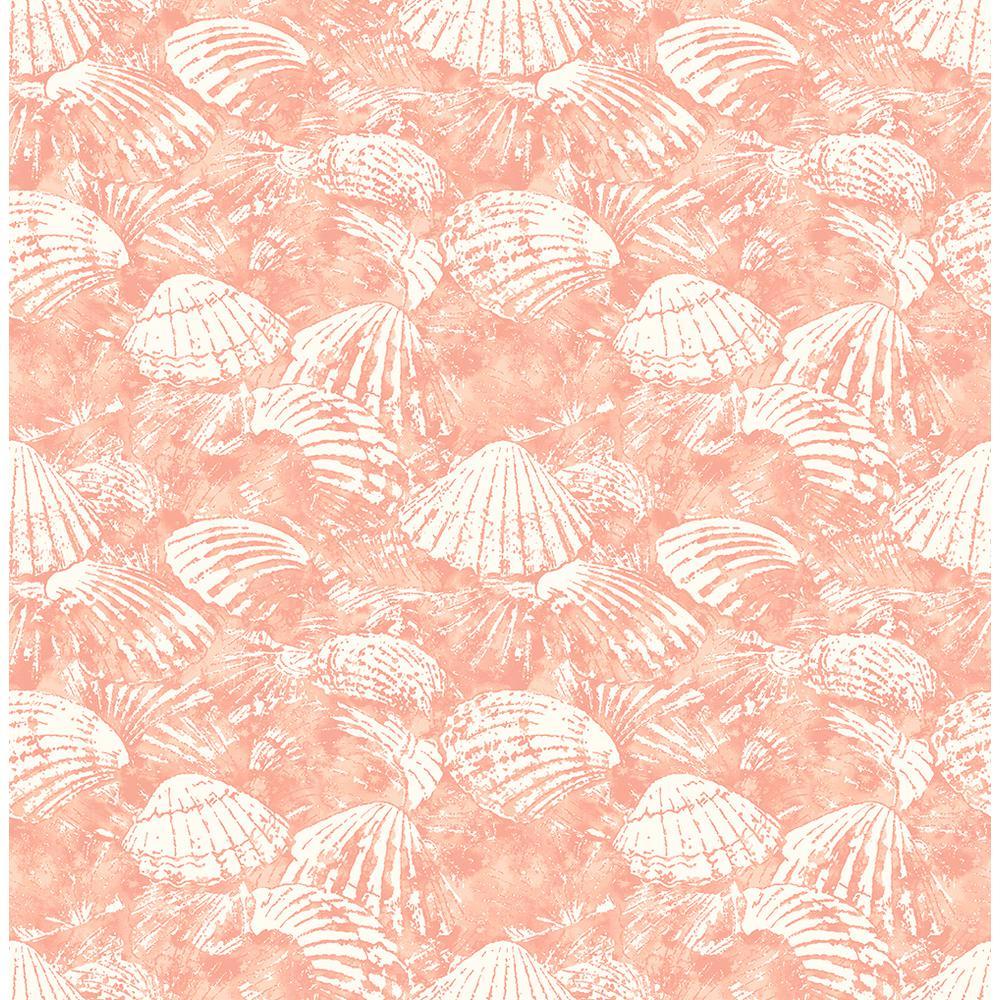 Surfside Coral Shells Coral Wallpaper Sample