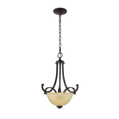 1-Light Vintage Yellow Classical Chandelier with Seeded Glass Shades