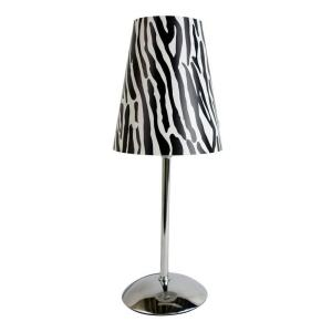 Limelights 13.50 inch Silver Mini Table Lamp with Plastic Zebra Printed Shade by Limelights