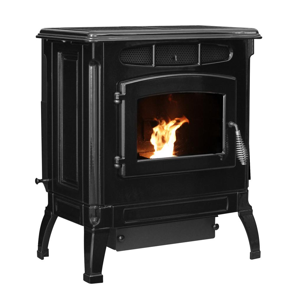 2,000 sq. ft. EPA Certified Cast Iron Pellet Stove Black Enameled