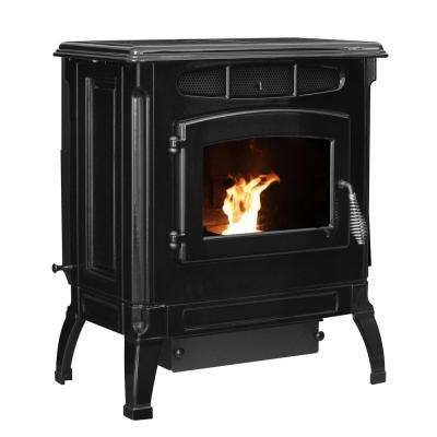 2,000 sq. ft. EPA Certified Cast Iron Pellet Stove Black Enameled Porcelain with 40 lb. Hopper