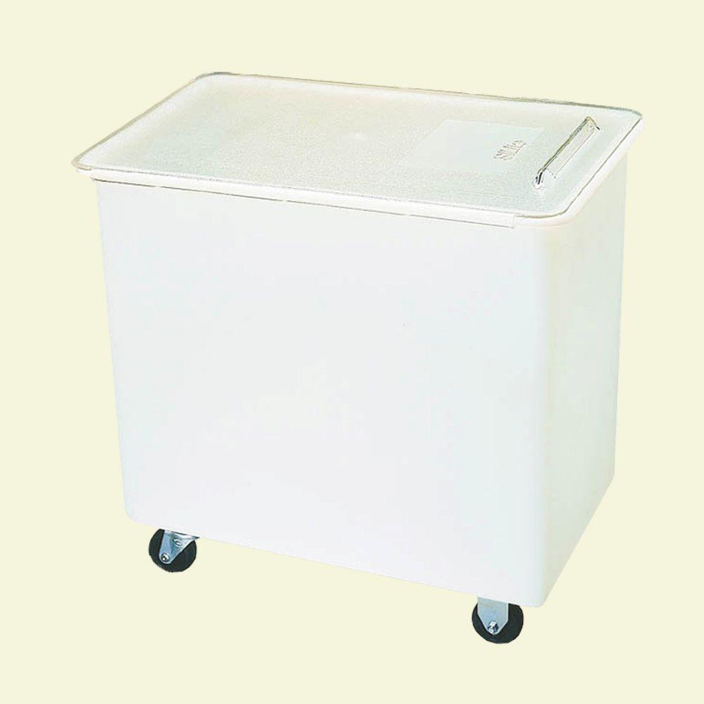 36 gal. Wheeled Ingredient Bin Polyethylene with Polycarbonate Lid in White
