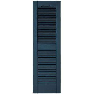 12 in. x 39 in. Louvered Vinyl Exterior Shutters Pair #036 Classic Blue