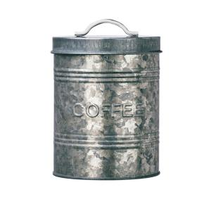 Rustic Kitchen Metal Coffee Storage Canister with Galvanized