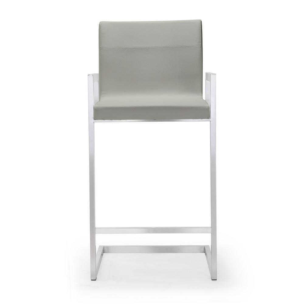 Tov Furniture 38 2 In H Milano Light Grey Steel Counter