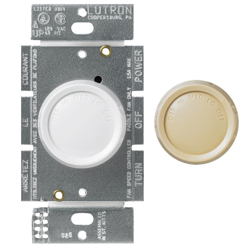 Lutron Rotary 1.5-Amp Single-Pole 3-Speed Fan Control - White