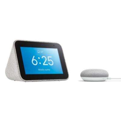 Smart Clock with The Google Assistant + Google Home Mini in Chalk