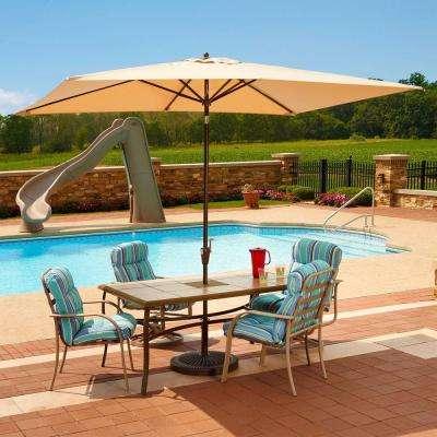 Adriatic 6.5 ft. x 10 ft. Rectangular Aluminum Market Auto-Tilt Patio Umbrella in Beige Sunbrella Acrylic