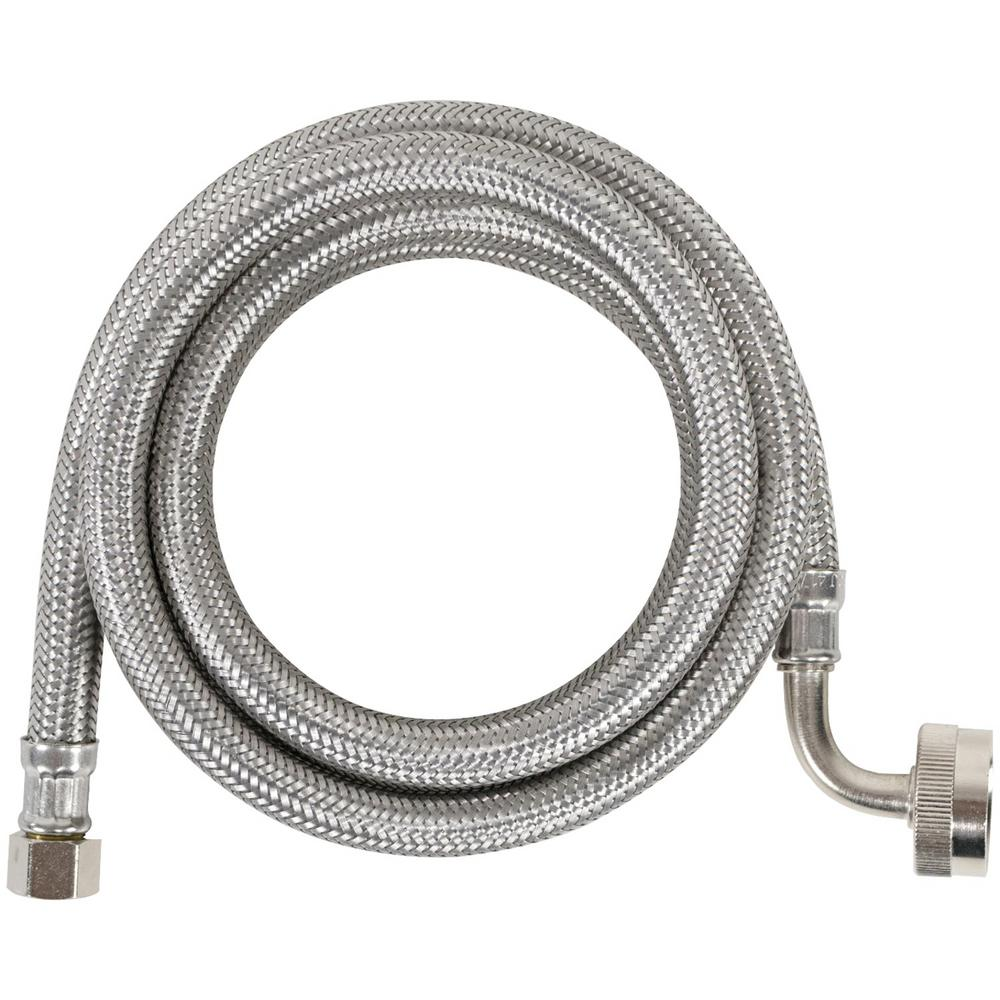CERTIFIED APPLIANCE ACCESSORIES 5 ft. Braided Stainless Steel Dishwasher Connector with Elbow, Silver For years, licensed plumbers, electricians, and appliance installers have relied on CERTIFIED APPLIANCE ACCESSORIES for their power cords, hoses, and connectors. Now you can too. Enjoy the convenience offered by this dishwasher connector from CERTIFIED APPLIANCE ACCESSORIES. Its flexibility and durability ensure a reliable connection for your next home installation project. This hose has been thoroughly tested and is backed by a 5-year limited warranty. Check your appliance's manual for the correct specifications to ensure this is the right connector hose for you. Thank you for choosing CERTIFIED APPLIANCE ACCESSORIES Your Appliance Connection Solution. Color: Stainless Steel.