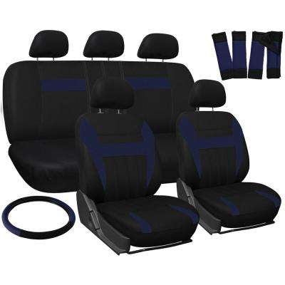 Polyester Seat Covers Set 26 in. L x 21 in. W x 48 in. H 17-Piece Seat Cover Set Blue and Black