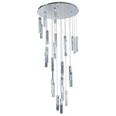25-Light Polished Chrome Chandelier with Clear Glass Shade