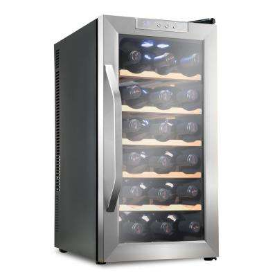 18 Bottle Premium Thermoelectric Freestanding Wine Cooler/Fridge - Stainless Steel with Wood Shelves