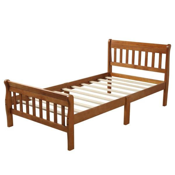 Boyel Living Wood Platform Bed Twin Bed Frame Panel Bed Mattress Foundation Sleigh Bed With Headboard Footboard Wood Slat Support Ly Wf192434aal The Home Depot
