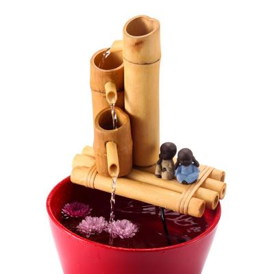8 in. Bamboo 3-Tier Fountain-Complete with Pump and Tubing