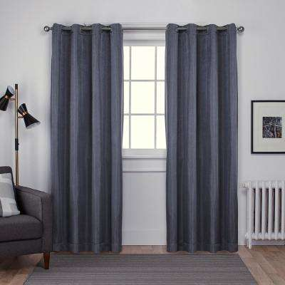 Carling 52 in. W x 96 in. L Woven Blackout Grommet Top Curtain Panel in Silver (2 Panels)