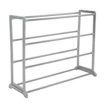 Stackable 12-Pair Grey Shoe Rack