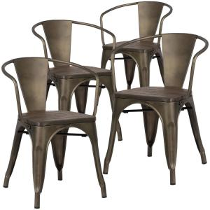 Poly and Bark Cantina Bronze Arm Chair with Elm Wood Seat (Set of 4) by Poly and Bark